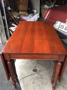 Vintage Solid Cherry Drop Leaf Double Gate Leg Dining Table Rope Twist Legs