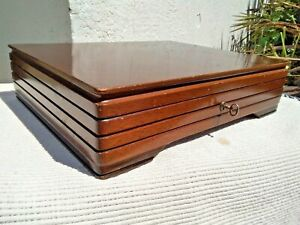 Vintage Art Deco Wooden Cutlery Canteen Box Storage Box With Key