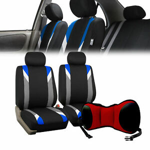 Car Front Bucket Seat Covers W Red Seat Cushion Pad Combo Auto Car Suv Blue
