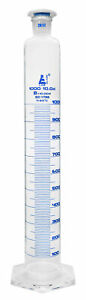 Measuring Cylinder 1000ml Class B Blue Graduations Pp Stopper Eisco Labs