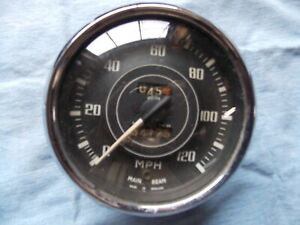 Vintage Jaeger Curved Glass 120 Mph Speedometer S628 51 118 504 04 And 1180