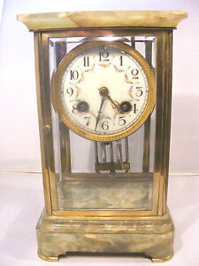 Antique Regulator Four Crystal Glass Sided Chime Clock French
