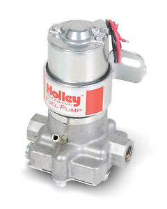 Holley Fuel Pump Red In line 71gph 4psi 3 8 npt Inlet 3 8 npt Outlet Silver
