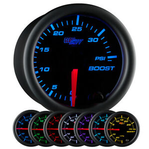 Used Glowshift Black 7 Color 35 Psi Boost Gauge W Compression Fittings
