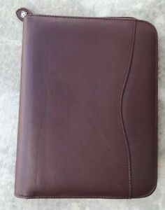 Day Timer Burgundy Leather Classic Planner 7 Ring Binder Organizer Portfolio