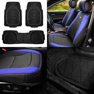 Leather Seat Cushion Bucket Covers Pair Blue W Black Floor Mats For Suv