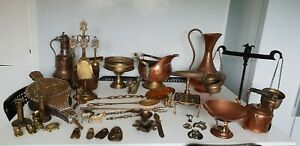 Large Collection Of Brass And Copper Antique Salvaged Vintage Trinket Kettle