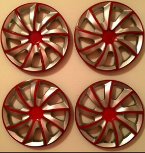 15 Inch Wheel Covers Hubcaps Universal Wheel Rim Cover 4 Pieces Set Silver Red