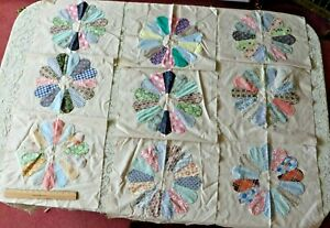 9 16 Vintage American Dresden Plate Hand Sewn Quilt Squares