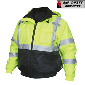 Hi vis Insulated Safety Bomber Reflective Jacket With Quilted Liner Road Work