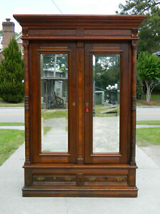 Walnut Victorian Wardrobe With Mirrored Doors Circa 1865