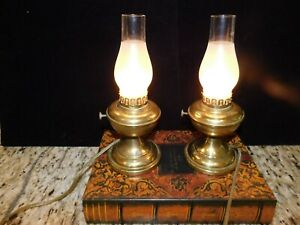 Vintage Pair Solid Brass Hurricane Electric Lamps With Frosted Glass Shades
