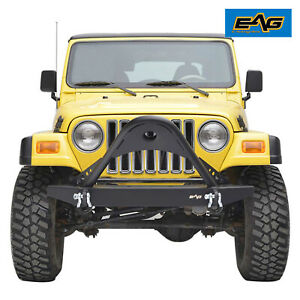 Eag Stinger Front Bumper Black Textured Fit 1987 2006 Jeep Wrangler Yj Tj