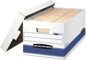 Bankers File Box Locking Lid Office Storage Letter Size Paper Document Organizer