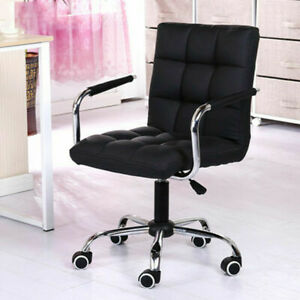 Ergonomic Pu Leather Mid back Executive Computer Desk Task Office Chair Black Us