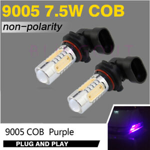2 9005 Hb3 Purple Pink 7 5w Cob Led Bulbs For Car Daytime Runing Light