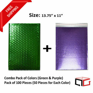 50 Each Combo Pack Of Green Purple Padded Bubble Mailers 13 75x11 total 100