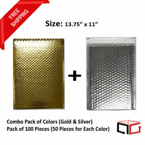 100 Bags 13 75x11 Combination Of Gold Silver Glamour Bubble Mailers 50 Each