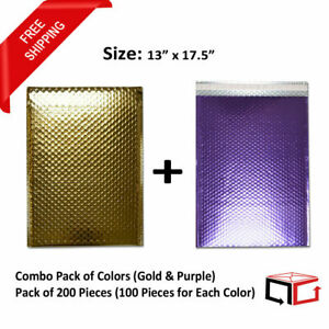 50 Each Combo Pack Of Gold Purple Padded Bubble Mailers 13x17 5 total 100