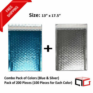 100 Bags 13x17 5 Combination Of Blue Silver Glamour Bubble Mailers 50 Each