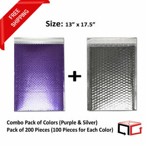100 Bags 13x17 5 Combination Of Purple Silver Glamour Bubble Mailers 50 Each
