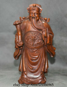 6 Folk Chinese Boxwood Wood Carved Stand Dragon Mammon Money Wealth God Statue