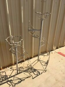 Vintage Twisted Wrought Iron Planters Tiered Staircase Style Set Of Two