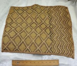 Antique African Congo Tribal Kuba Cloth Fabric Handwoven Ethnic Design 16 X20