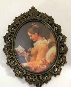 Vtg Oval Ornate Metal Frame Pictures Made In Italy Young Lady In Yellow Reading
