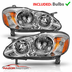 W Bulbs For 2003 2004 2005 2006 2007 2008 Toyota Corolla Chrome Headlights