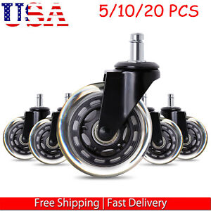 5 20pcs Office Chair Caster Rubber Swivel Wheels Replacement Heavy Duty 3inch Us