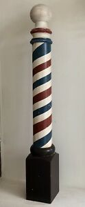 Free Standing Barber Pole Hand Turned From Solid Poplar