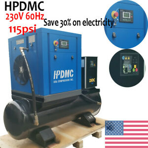 Hpdmc 10hp Rotary Screw Air Compressor 115psi 230v 60hz 80 Gallon Tank