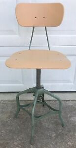 Toledo Metal Furniture Industrial Drafting Stool Rare Vintage Green Adjustable