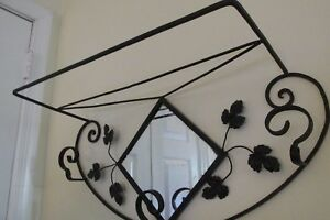 Vintage Wrought Iron Hanging Coat Hat Hall Rack Mirror Shelf Leaves Scrolls 26