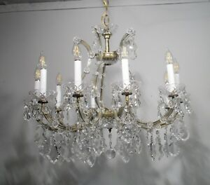 Antique Vintage Grand Maria Theresa Chandelier 10 Light Ornate Crystals French