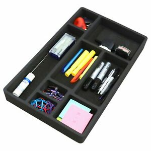 Desk Drawer Organizer Insert Black Home Or Office 8 Slot 19 9 X 12 1 No Rattle