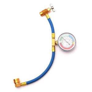 Pro R 134 R134a Ac Refrigerant Recharge Hose Can Tap Gauge W Brass Fitting