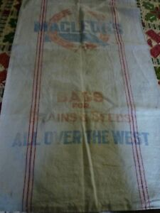 Vintage Antique Red Stripe Feed Sack Grain Bag 38 X 39