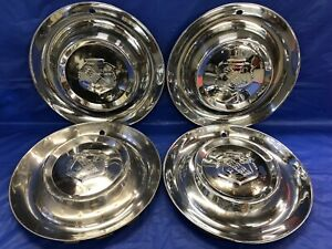 Vintage Set Of 4 1953 Buick 15 Hubcaps Straight 8 Road Master