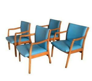 Mid Century Dinning Chairs Office Chairs Set Of 4 Blue Vinyl