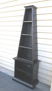 57655 Decorator 2 Pc Black Painted Open Shelf Bookcase Curio Cabinet Chest