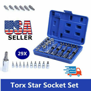 29pcs Torx Star Socket Set Bit Male Female E T Sockets With Torx Bit Tools