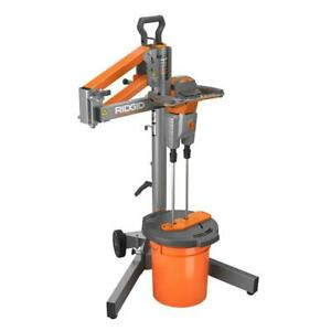 Electric Power Mortar Mud Grout Mixer Smart Dual Paddle Portable With Stand Lawn