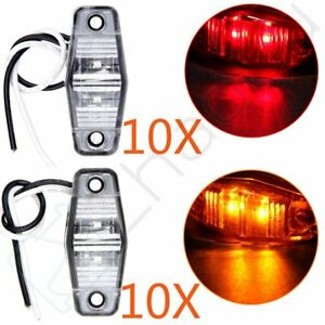 20 Amber red 2 Diode Led Clearance Light Rv Trailer Side Marker Clear Lens Lamps