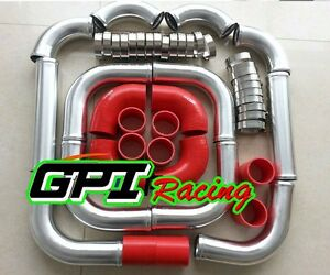 Universal 3 76mm Aluminum Intercooler Turbo Pipe Piping Kit Red Hose Clamps