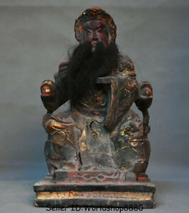 13 6 Antique Old Chinese Wood Lacquerware Guan Gong Yu Warrior God Statue