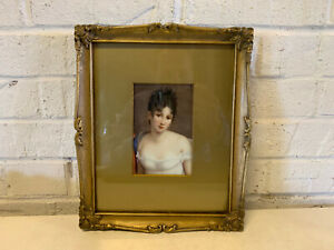 Antique Likely German Painted Porcelain Portrait Plaque Beautiful Woman Girl
