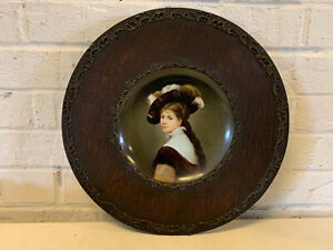 Antique Likely European Porcelain Painted Portrait Plate Dutch Girl Woman In Hat