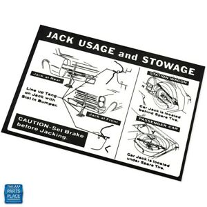 1965 Gto Lemans Jack Usage And Stowage Instruction Decal Ea